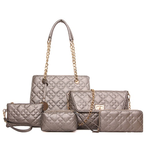 Fashion Quilted Lining PU Bag Set (5 Bags)