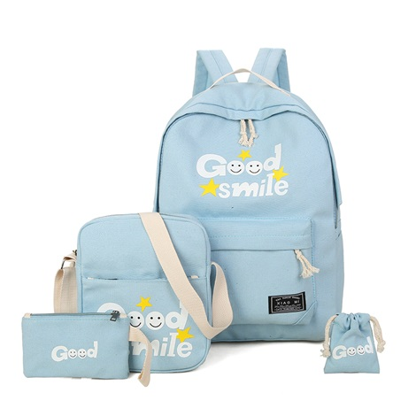 Casual Letter Pattern Canvas Backack ( 4 Bag Set)