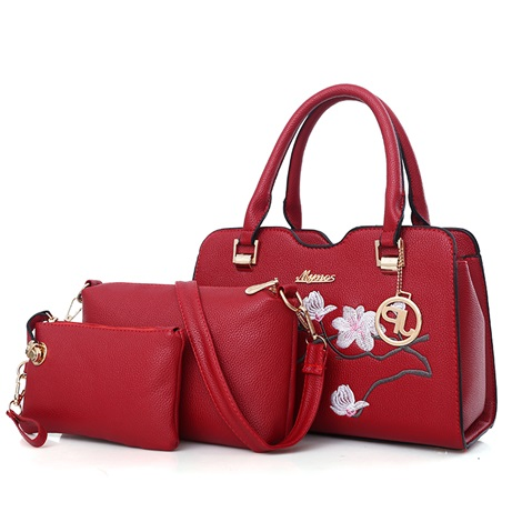 Chinese Style PU Solid Color Bag Sets