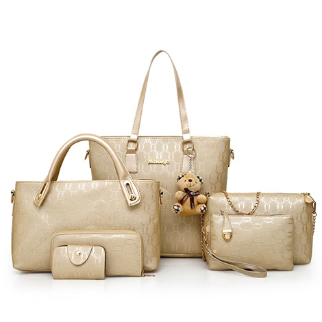 Fashion Plain PU Women Bag Set