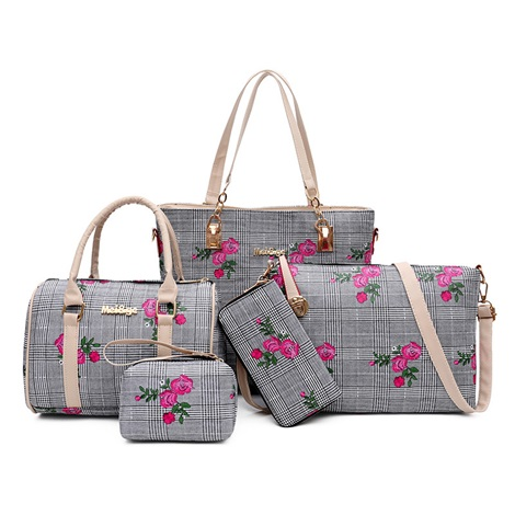China Floral Plaid Women Bag Set