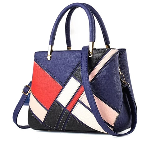 Quilted Lining PU ColorBlock Small Tote Bag