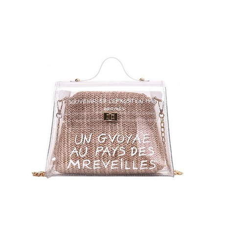 PVC Transparency Letter Lock Square Tote Bag