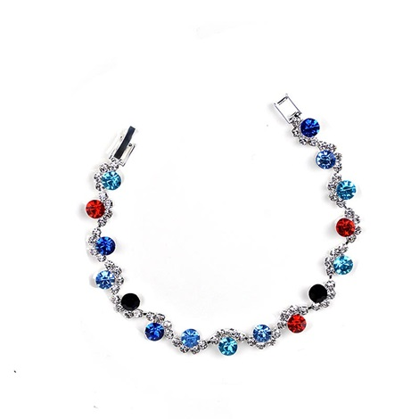 Assorted Colors Full Drill Thin Birthstone Bracelet