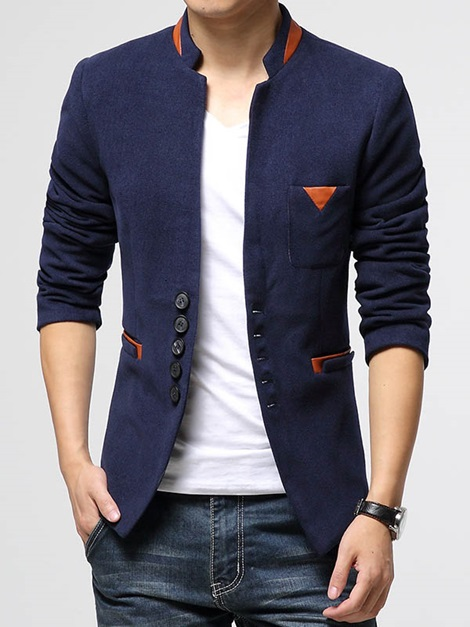 Stand Collar Plain Single-Breasted Men's Blazer