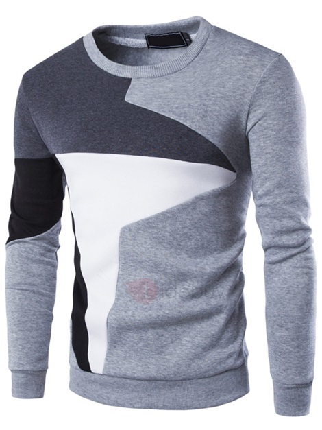 Color Block Patchwork Men's Casual Pullover Hoodie