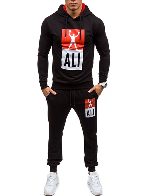 Hooded Letter Long Sleeve Men's Sports Outfits