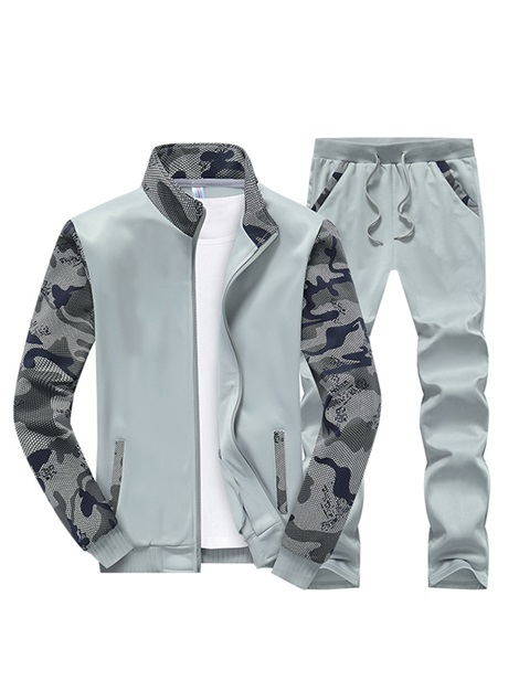 Camouflage Sleeve Stand Collar Zipper Men's Outfits