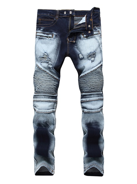 Worn Hole Zipper Mid-Waist Men's Jeans