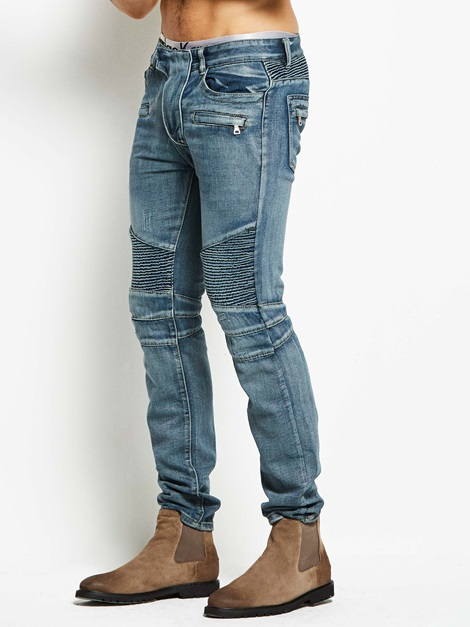 Motor Style Plain Hole Slim Men' Jeans