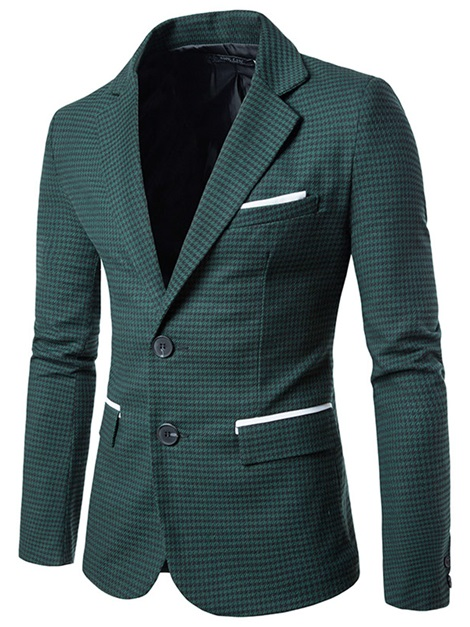 Notched Lapel Two Buttons Houndstooth Men's Blazer