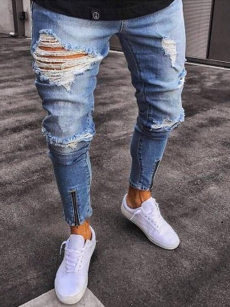 Hole Zipper Fashion Men's Slim Fit Jeans