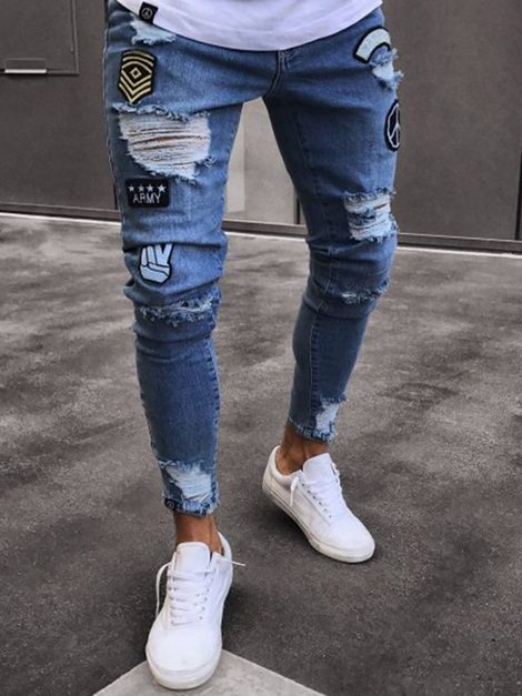 Hole Fashion Design Men's Skinny Jeans
