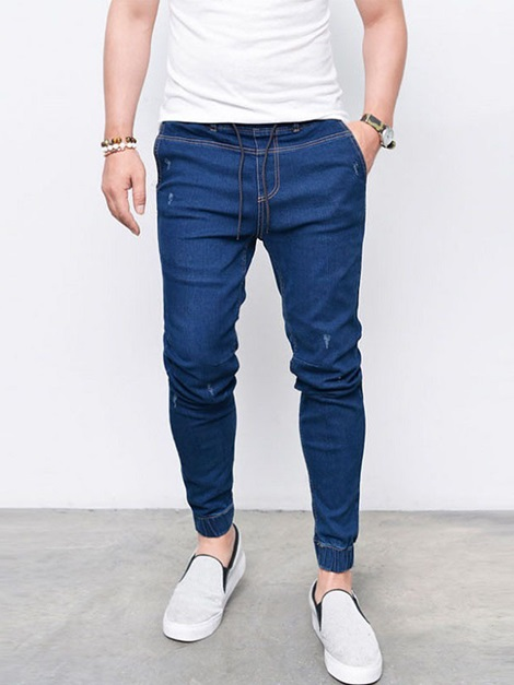 Plain Lace-Up Men's Skinny Jeans