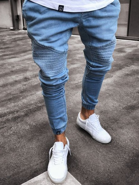 Pleated Skinny Men's Plain Thin Jeans