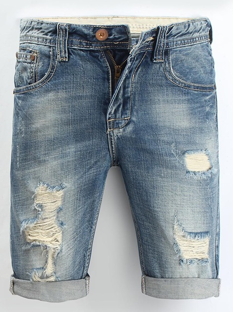 Hole High-Waist Men's Short Jeans