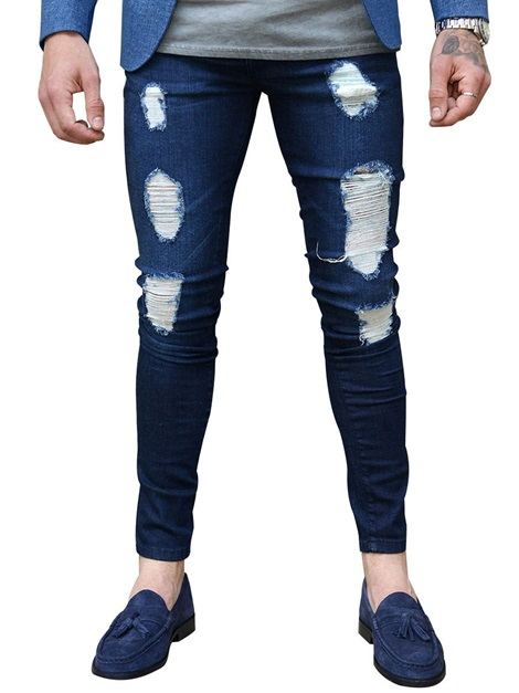 Hole Low-Waist Men's Skinny Jeans