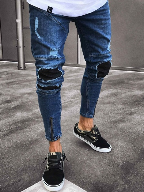 Worn Hole Stylish Men's Skinny Jeans
