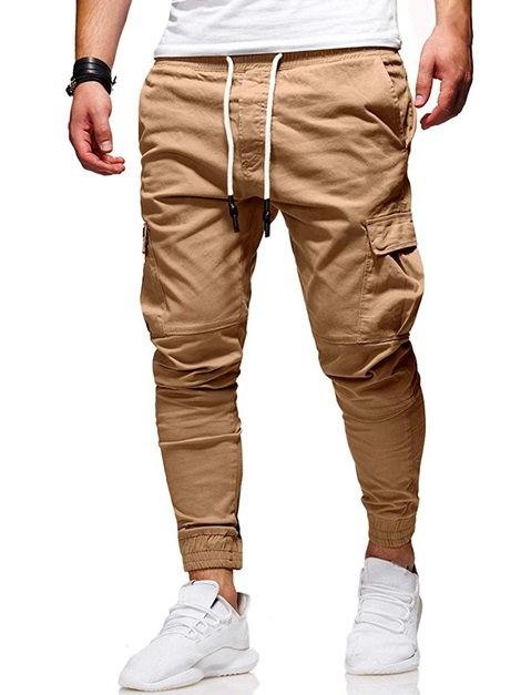 Lace-Up Plain Pocket Men's Casual Pants