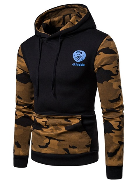Hooded Camo Patchwork Color Block Men's Pullover Hoodie
