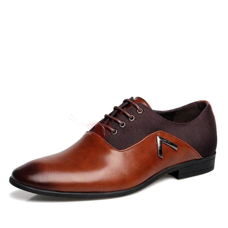 Brush-Off PU Pointed Toe Men's Dress Shoes