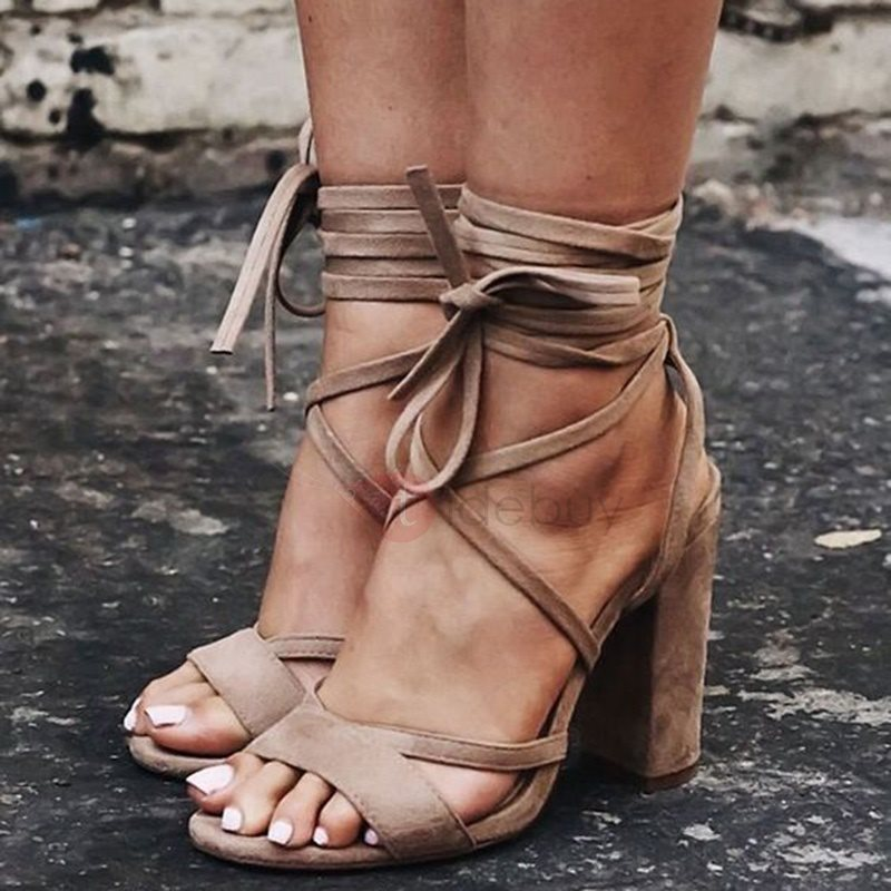 Suede Lace-Up Chunky Heel Brown Sandals