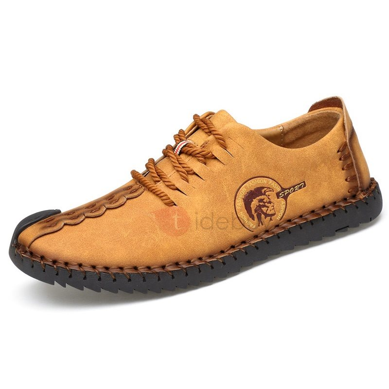 Nubuck Leather Lace-Up Thread Men's Casual Shoes