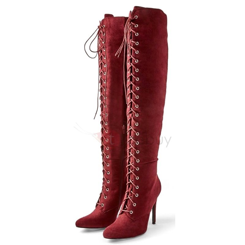 Pointed Toe Cross Strap Stiletto Heel Over The Knee Boots