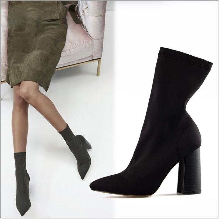 Suede Stretch Boots Women Pointed Toe Chunky High Heel Shoes Women Ankle Boots