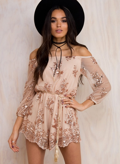 Womens off Shoulder Long Sleeve Sequins Romper