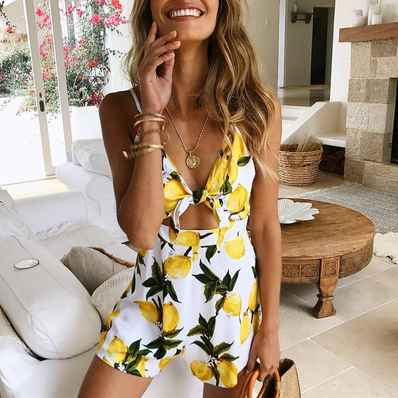 Lemon Zest High Waist Romper