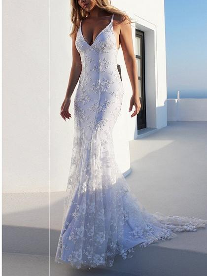 White V-neck Open Back Chic Women Lace Cami Maxi Dress