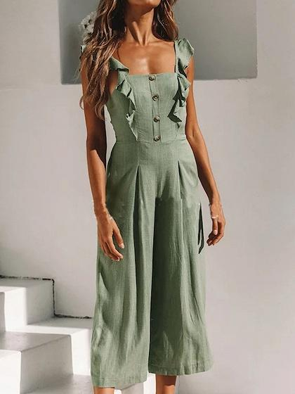 Green Cotton Blend Button Placket Front Chic Women Romper Jumpsuit