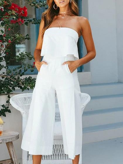 White Cotton Blend Bandeau Pocket Detail Chic Women Romper Jumpsuit