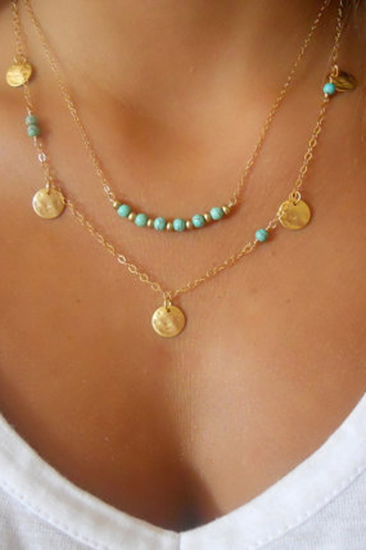 Coin Golden Plated Pendent Necklace