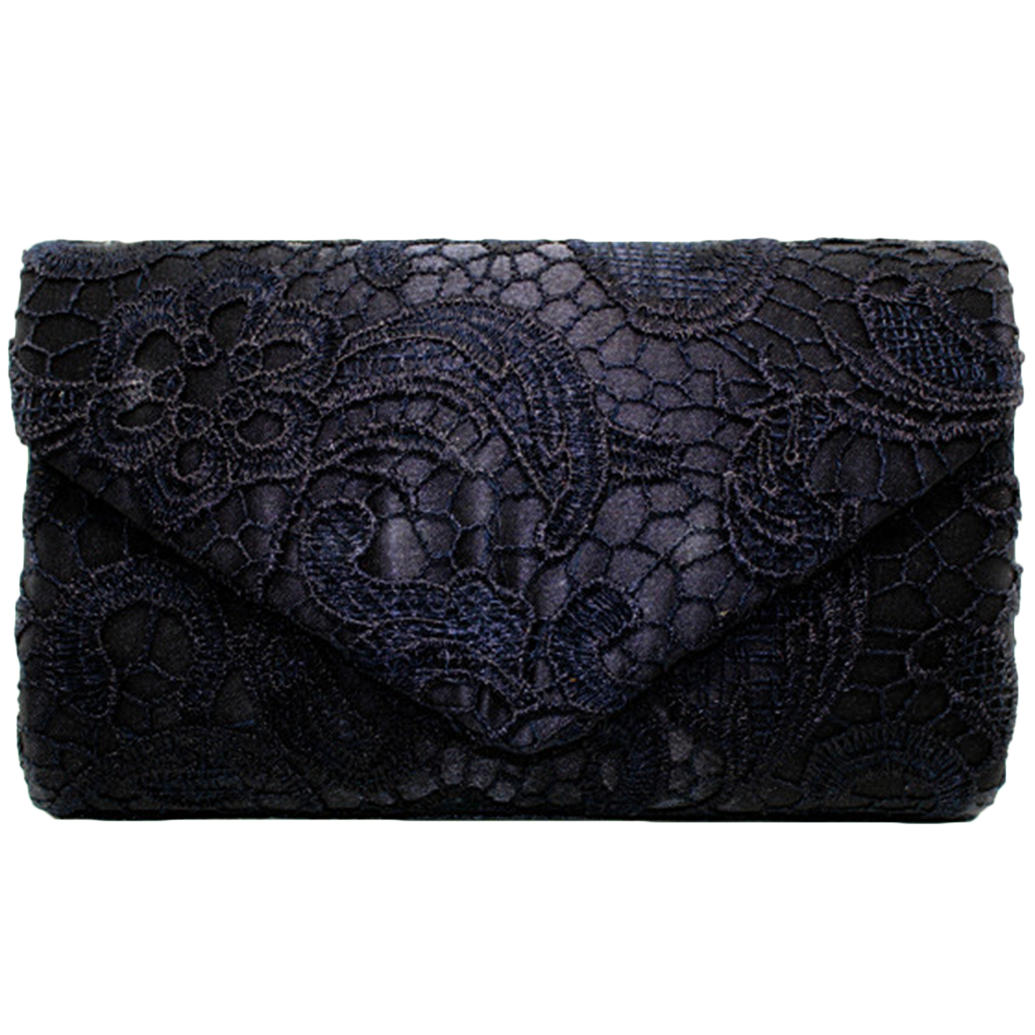 Womens Solid Floral Lace Evening Envelope Clutch Bag