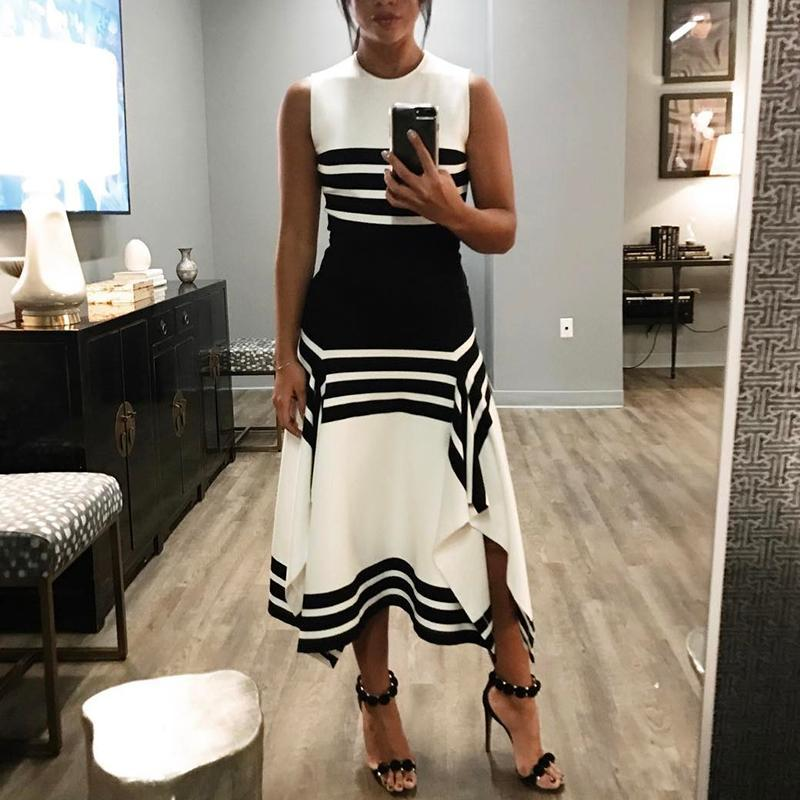 Sleeveless round neck striped black and white stitching dress casual bottoming skirt