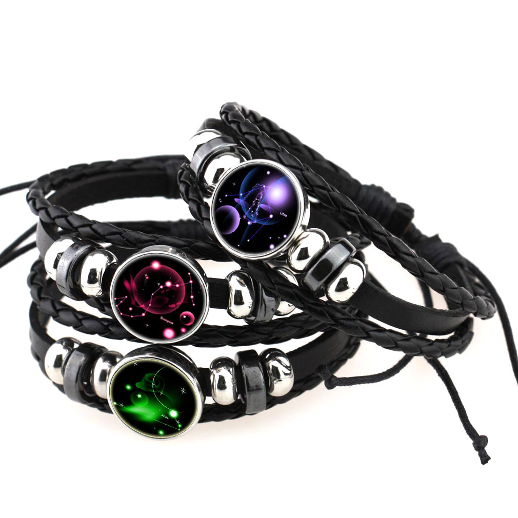 Hand-knitted 12 constellation leather bracelet Beaded retro diy constellation punk bracelet