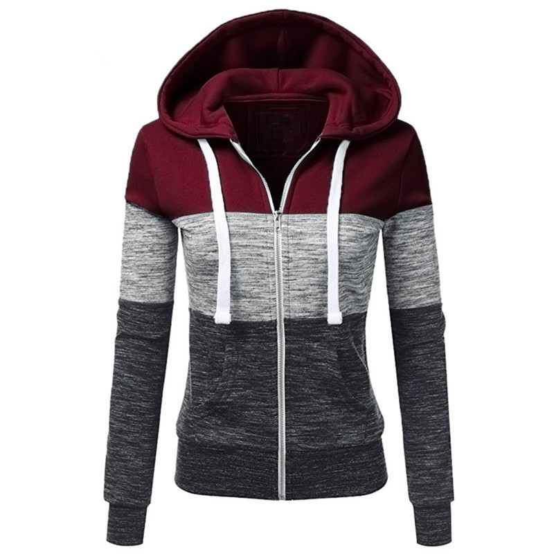 Fashion hooded sweater contrast color baseball uniform jacket
