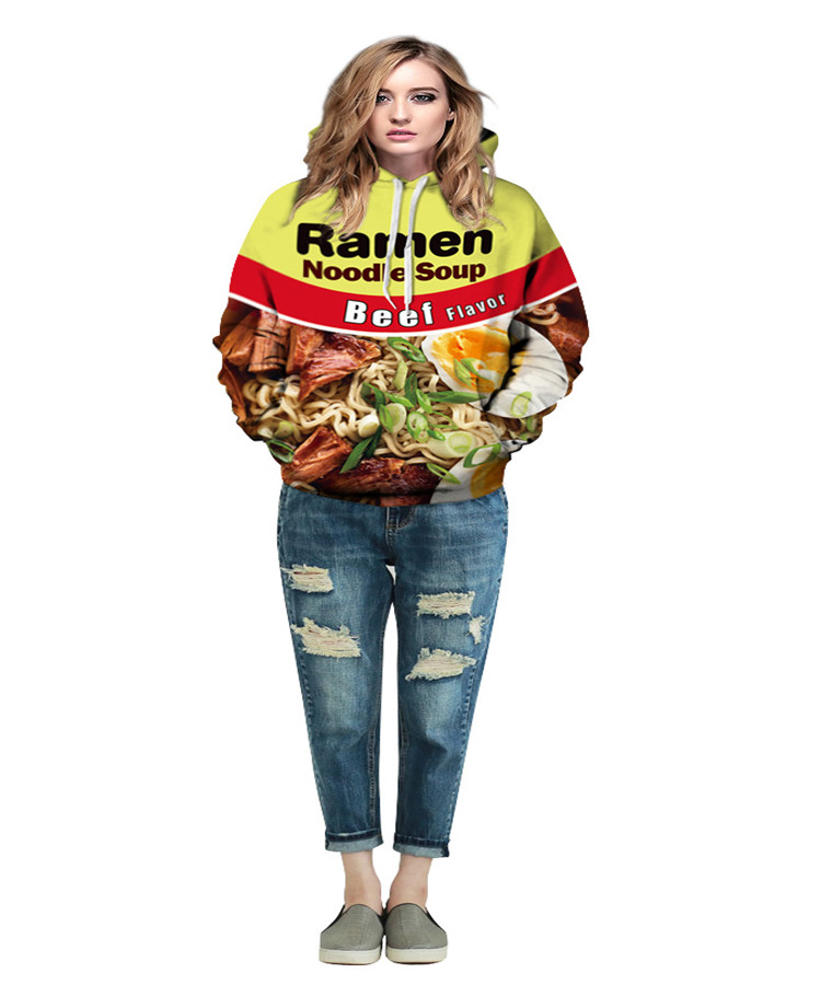 Beef Ramen 3D Digital Print Autumn and Winter Large Size Hoodie