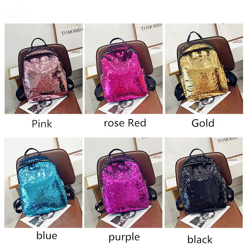Solid color sequins sequins handbags casual backpack large capacity backpack