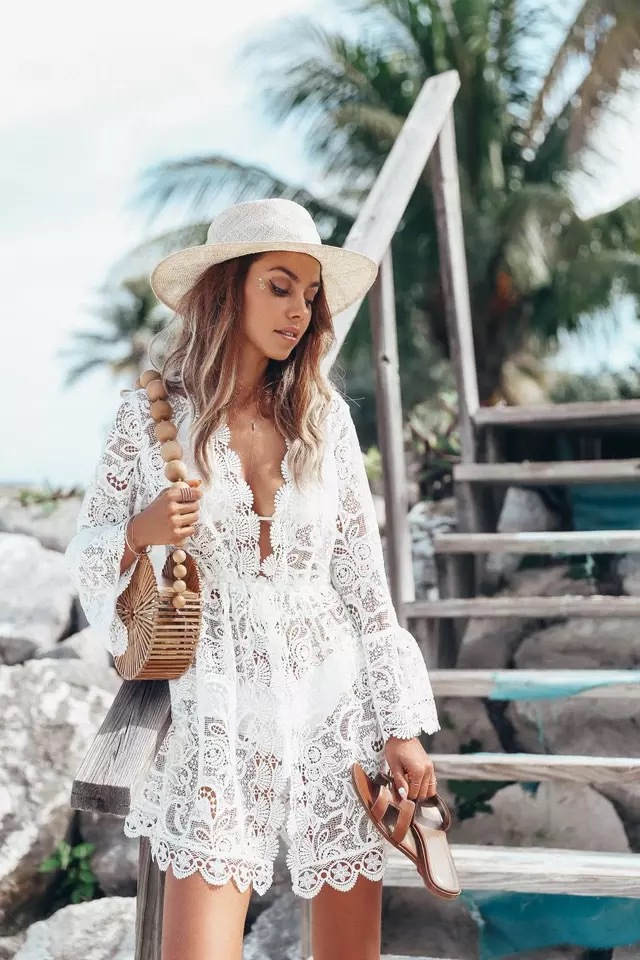 White V-neck sexy lace long-sleeved dress female